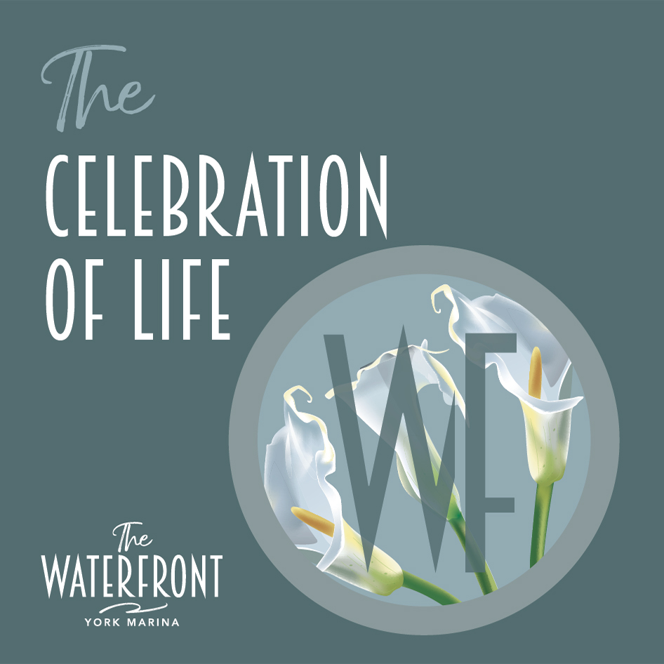 Celebration Of Life Events Brochure at The Waterfront Cafe at York Marina